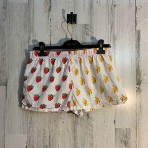3/$25 PINK pajama boxer shorts strawberry banana